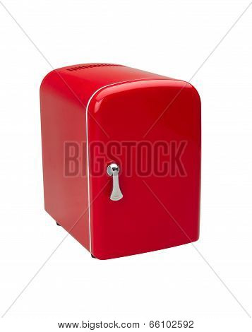 small red refrigerator