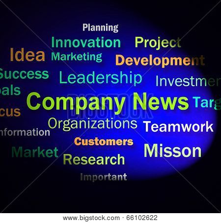 Company News Words Shows Whats New In Business