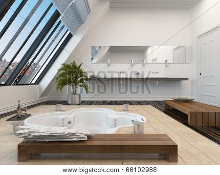 Modern bathroom interior with a sunken spa bath in a parquet floor and panoramic sloping view windows down one wall allowing in plenty of daylight