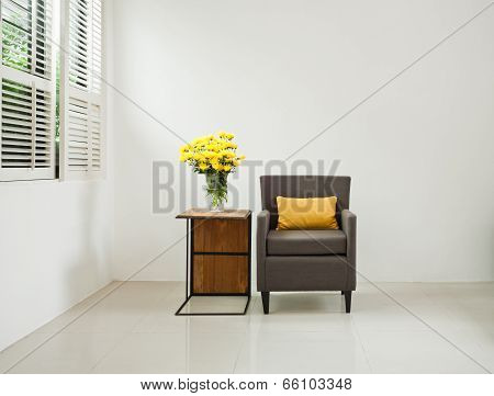 Grey Sofa Armchair In Simple Setting
