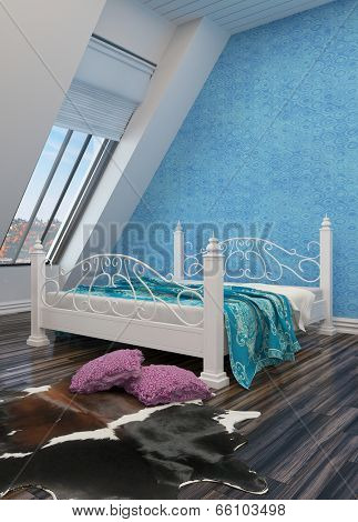 Modern bedroom with a white painted wrought iron bed, animal skin on the floor, white sloped walls with view windows and a blue wall