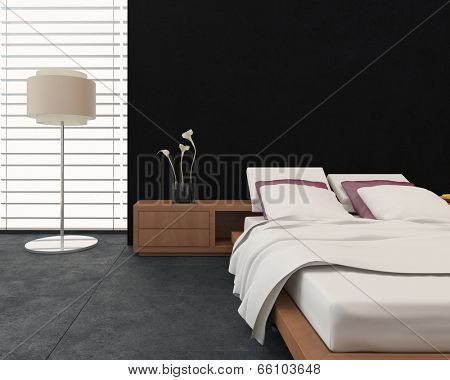 Modern bedroom interior with a therapeutic adjustable bed, , freestanding lamp and large window in contrasting black and white decor