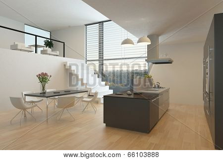Modern kitchen interior with a central hob, wall units, dining table and steps up to a mezzanine with a large view window