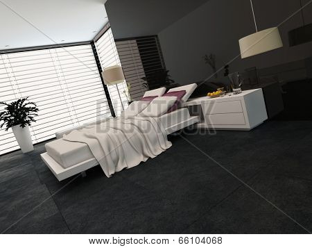 Spacious modern bedroom with an adjustable double bed, large wrap around view window with blinds, cabinets and a plant in black and grey decor