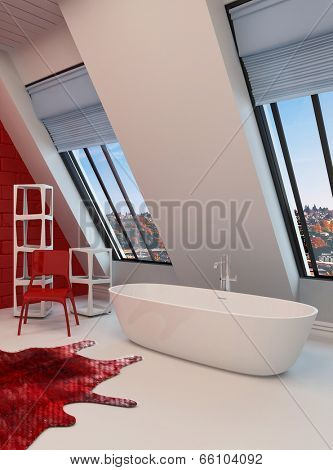 Dramatic spacious red and white bathroom interior with a freestanding tub, sloping wall with view windows
