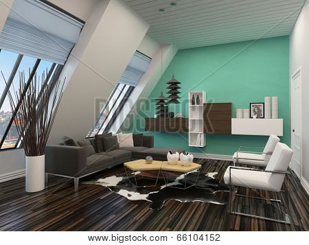 Modern living room interior with sloping windows and ceiling and a green accent wall with parquet floors and a comfortable contemporary lounge furniture