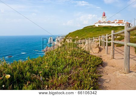 Lighthouse And Atlantic Ocean At Cabo Da Roca