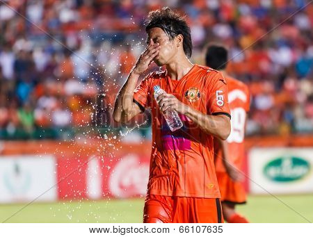 Sisaket Thailand-may 28: Terukazu Tanaka Of Sisaket Fc. In Action After The End Of The Match Between