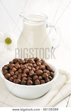 Cereal Chocolate Balls And Jug Of Milk