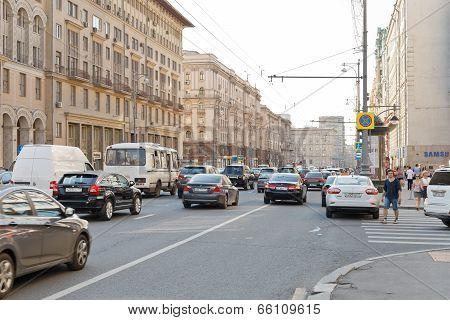 Tverskaya Street In Moscow In Summer