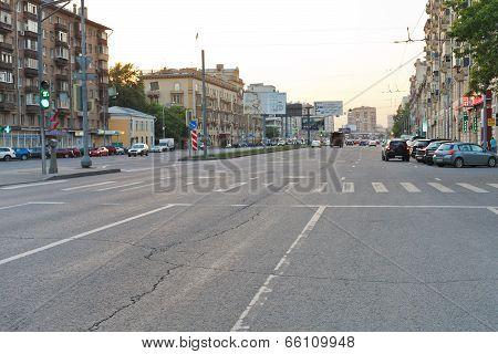 Pedestrian Crossing On Street In Moscow