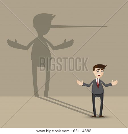 Cartoon Businessman With Long Nose Shadow On Wall