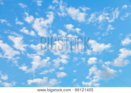 Lot Of Little White Clouds In Blue Sky