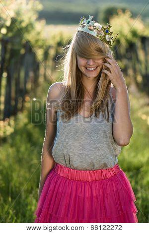 Princess - cute blonde girl act like princess
