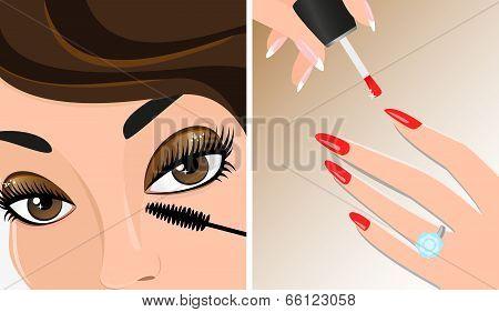 Make-up Twice Illustration, Mascara And Nail Polish
