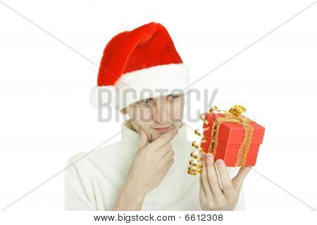 The Thoughtful Man With Gift In Hand