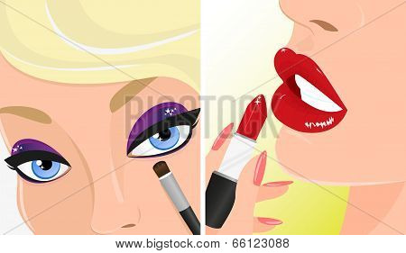 Make-up twice illustration, red lipstick and violet eye shadow