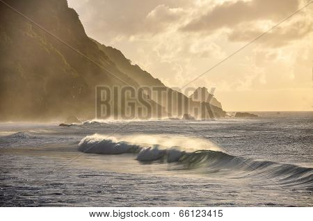 Waves At Sunset, Fernando De Noronha, Pernambuco (brazil)