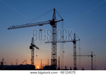 Silhouettes Of Construction Cranes