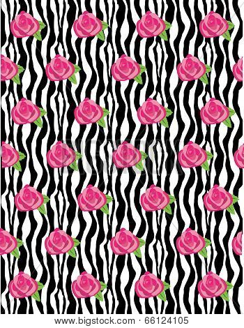 Rose Flower Zebra Wave Background