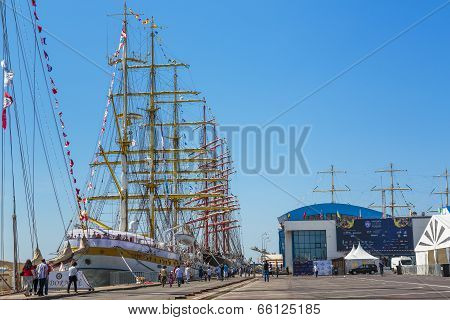 Anchored Tall Ships