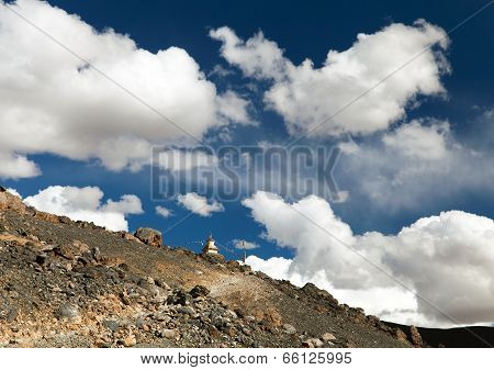 Stupa On Hill Between Cloud - Zanskar Trek - Ladakh - India