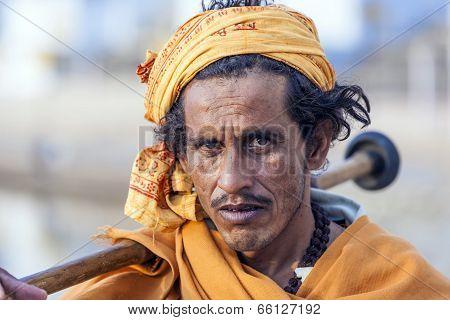 A Rajasthani Tribal Man Wearing Traditional Colorful Turban