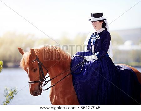 Portrait Of The Lady On A Red Horse.
