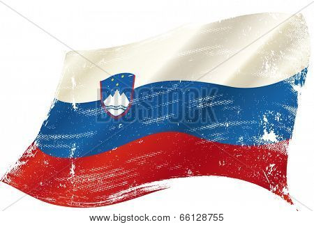 waving slovenian grunge flag. A waving flag of Slovenia with a grunge texture