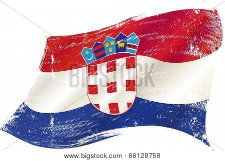 waving croatian grunge flag. A waving flag of Croatia with a grunge texture