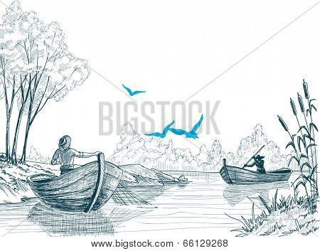 Fisherman in boat sketch, delta, river or sea background in vector