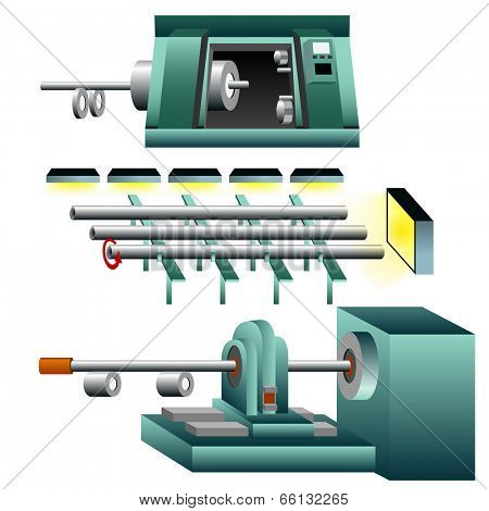 A 3d image of thread and tighten steel pipes.