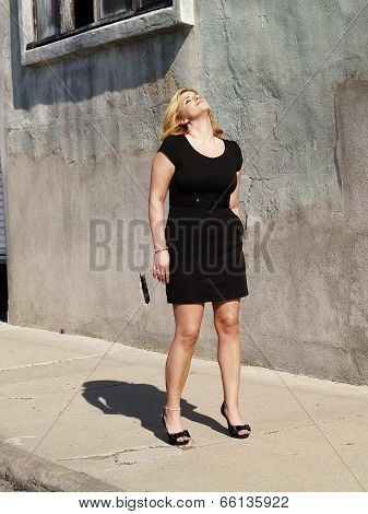 Plump Woman Looking Up Sunny Day Dress