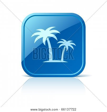 Palms icon on blue web button