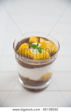Chia Pudding  Parfait with peach