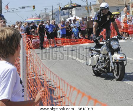 Margate September 5, 2009: Hero Thrill Show Standing On Motorcycle Stunt
