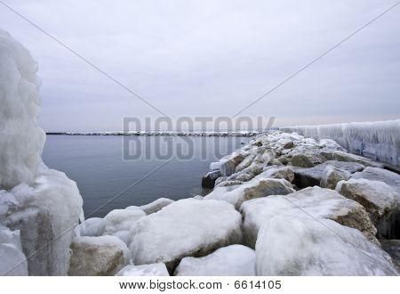 Frozen Lake Michigan Pier