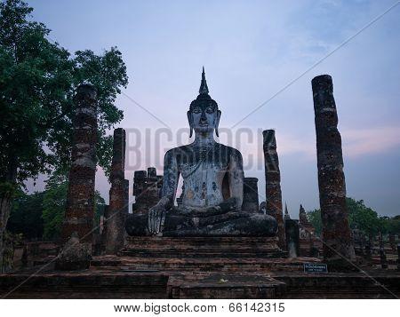 Evening At Wat Mahathat At Sukhothai Historical Park, Sukhothai, Thailand