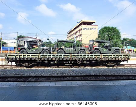 CHIANGMAI, THAILAND - SEPTEMBER 18 2012: Bogie Heavy Flat Wagon (BFH.) no 67