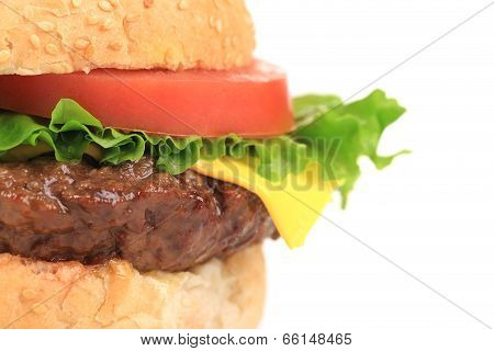 Close up of hamburger layers.
