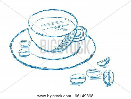 Coffee And Beans Sketch - Vector Illustration