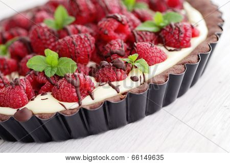 tart with raspberries and chocolate - sweet food