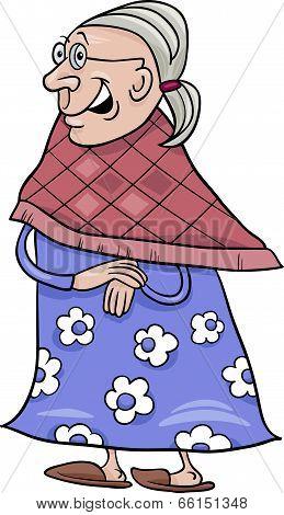 Senior Grandmother Cartoon Illustration