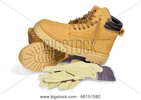 Protective boots and gloves isolated on white with clipping path.