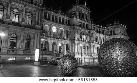 Brisbane Treasury Casino by night -black and white