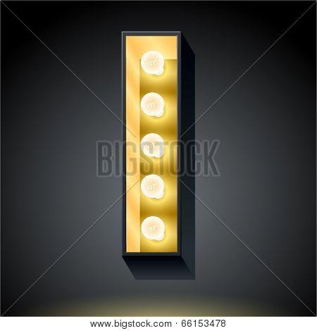 Realistic dark lamp alphabet for light board. Vector illustration of bulb lamp letter i