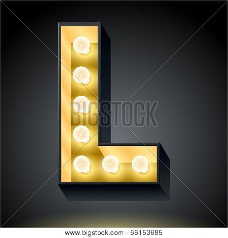 Realistic dark lamp alphabet for light board. Vector illustration of bulb lamp letter l