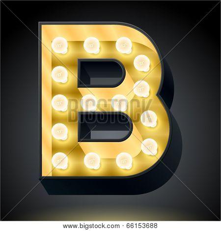 Realistic dark lamp alphabet for light board. Vector illustration of bulb lamp letter b