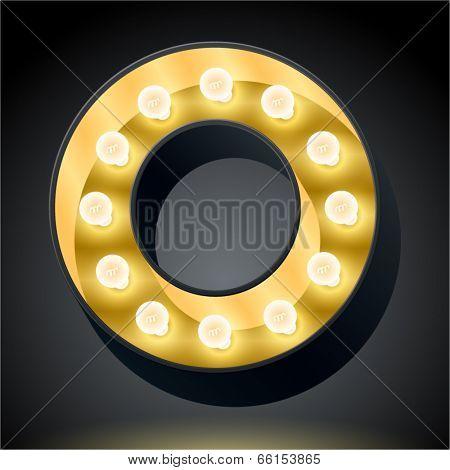 Realistic dark lamp alphabet for light board. Vector illustration of bulb lamp letter o