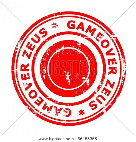 Gameover Zeus virus stamp isolated on a white background.